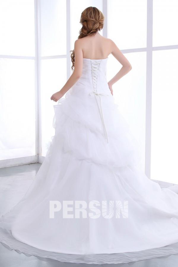 robe de mari e bustier d collet en c ur sans bretelle orn e de ruch. Black Bedroom Furniture Sets. Home Design Ideas