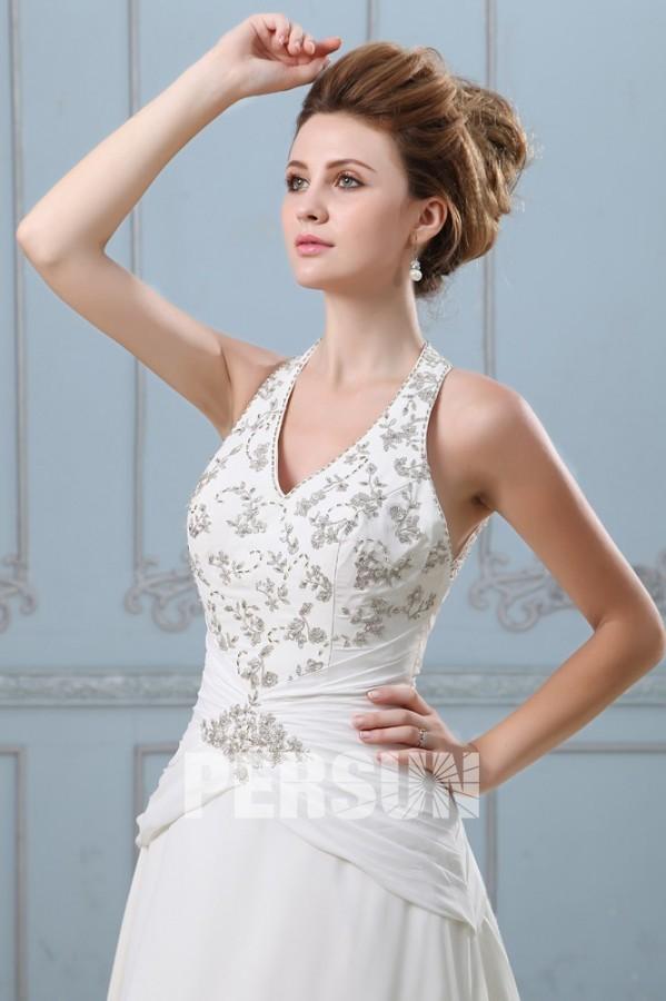 robe de mari e sexy ligne a en mousseline dos nu d collet en v. Black Bedroom Furniture Sets. Home Design Ideas
