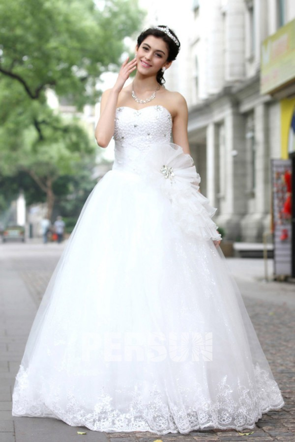 Robe mariée princesse empire bustier cœur en tulle