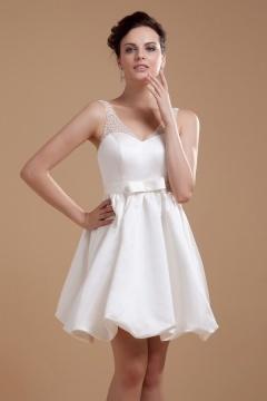 Mini robe de mariée plage col V en satin
