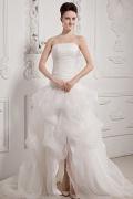 High-Low Prachtvolles Applikation Falten Brautkleid mit Hof Schleppe