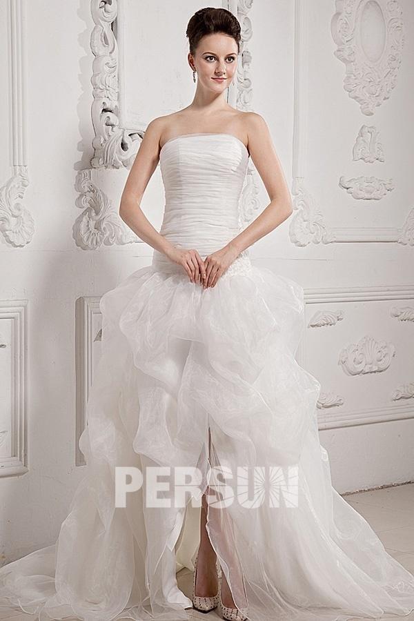Robe de mariée en organza ligne A sans bretelle