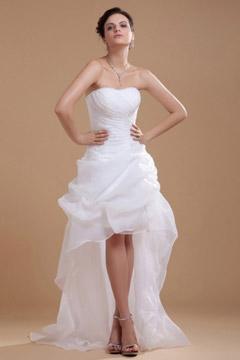 Robe de mariée bustier coeur courte devant longue derrière