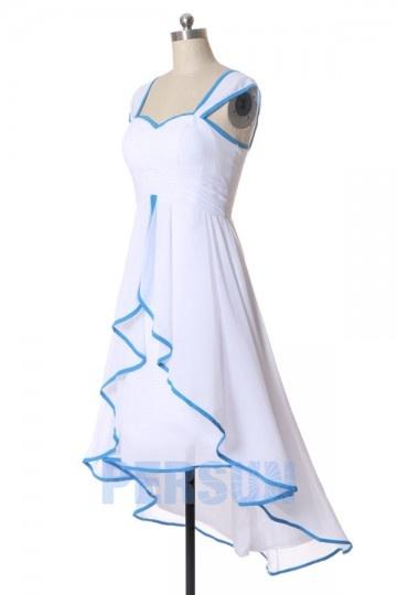 Longue Derrière Devant Robe Courte Bleu Bicolore Blanc Ourlet Clair ikXOPZu