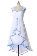 Robe courte devant longue derrière bicolore blanc ourlet bleu clair