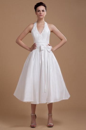 Robe de mariée courte col américain à noeud papillon