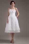 Wadenlanges Blume Stickerei plissiertes Hochzeitskleid aus Taft