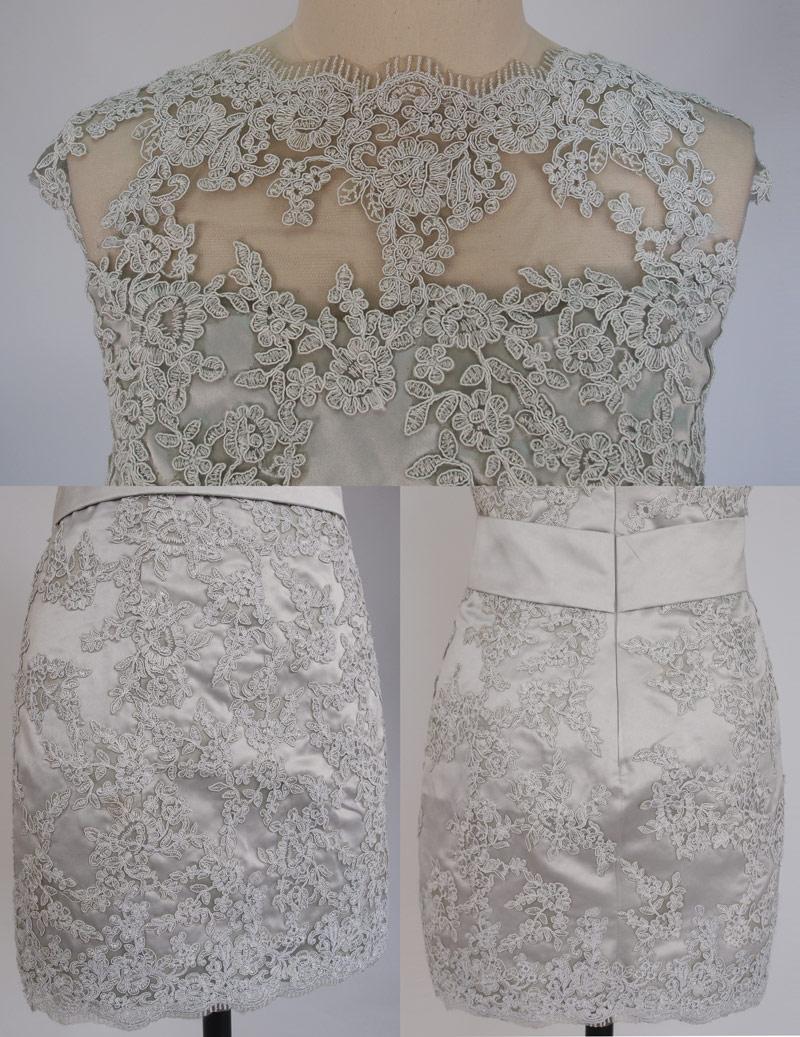 Robe Cérémonie fourreau grise courte embellie dentelle délicate