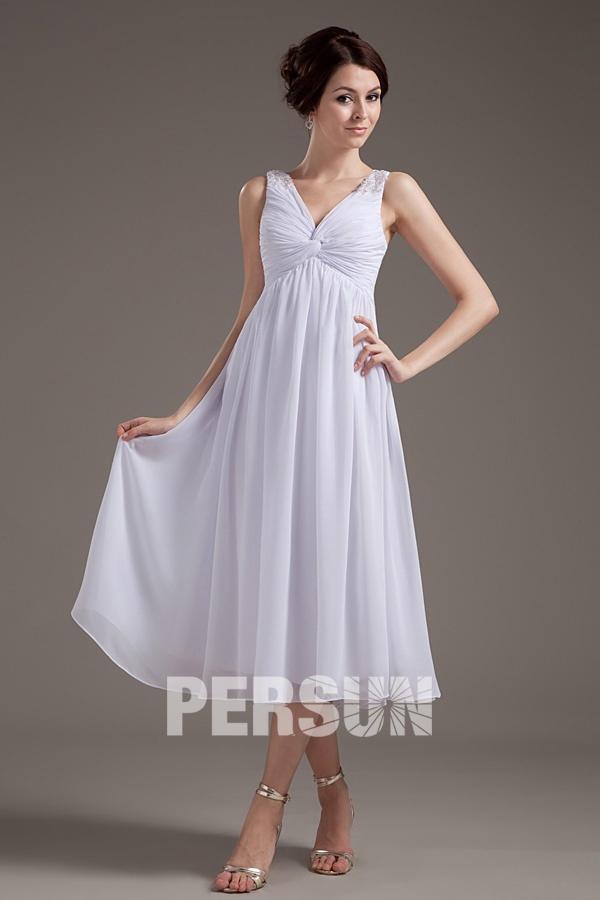 Robe cortège mi longue col V à bustier drapé en mousseline blanche