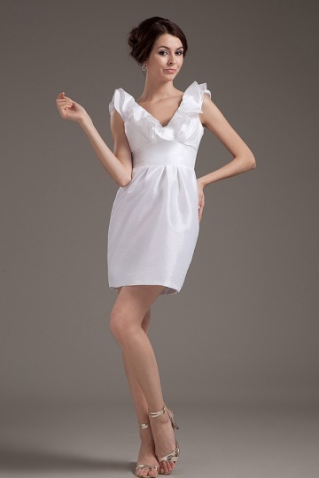 Robe blanche courte col V simple en taffetas