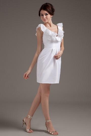 Robe blanche courte col V simple en taffetas – Persun.fr 2145892a8e16