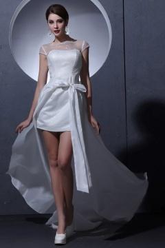 Robe de mariée moderne col bateau courte à mancheron