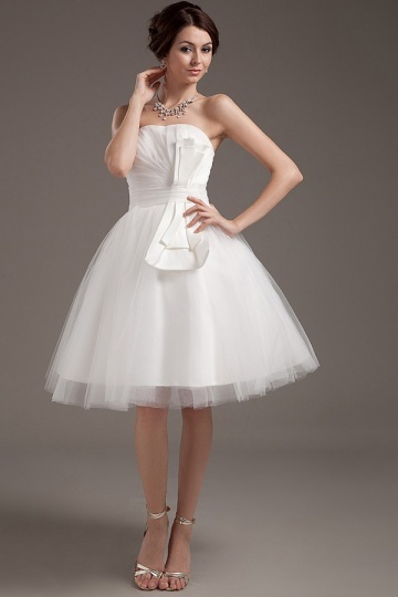 Mini robe de mariée simple bustier en tulle