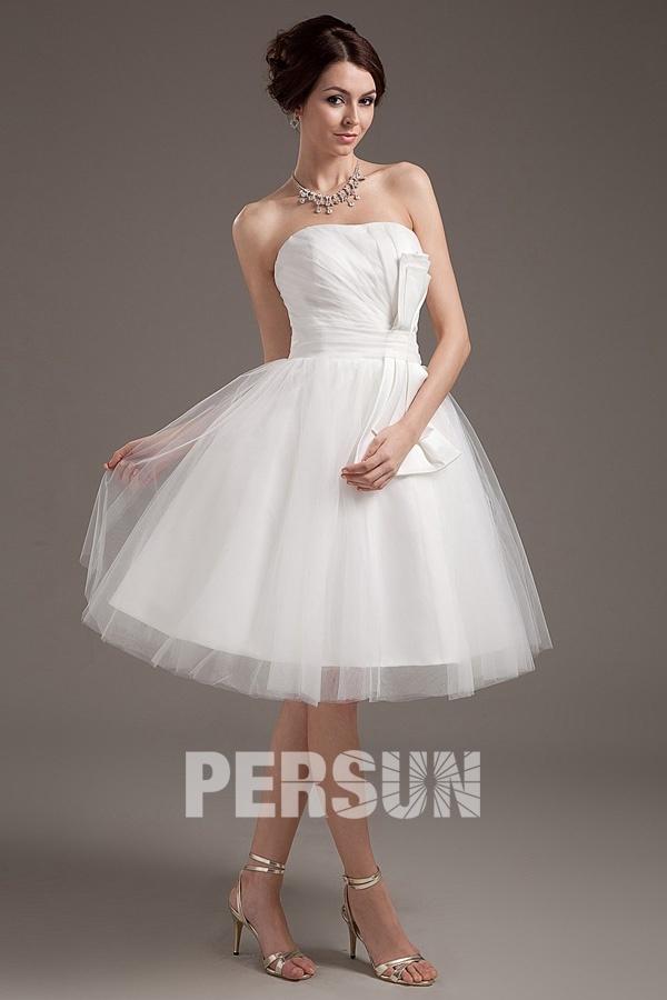 robe de mariée courte princesse simple bustier en tulle