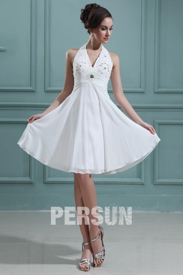 robe de mariée courte empire col halter embelli de strass
