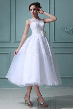 Robe de mariée princesse encolure bateau Empire à noeud papillon