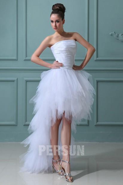 sélectionner pour dernier vente chaude réel grandes marques Robe de mariée plage bustier ruchée courte devant longue ...