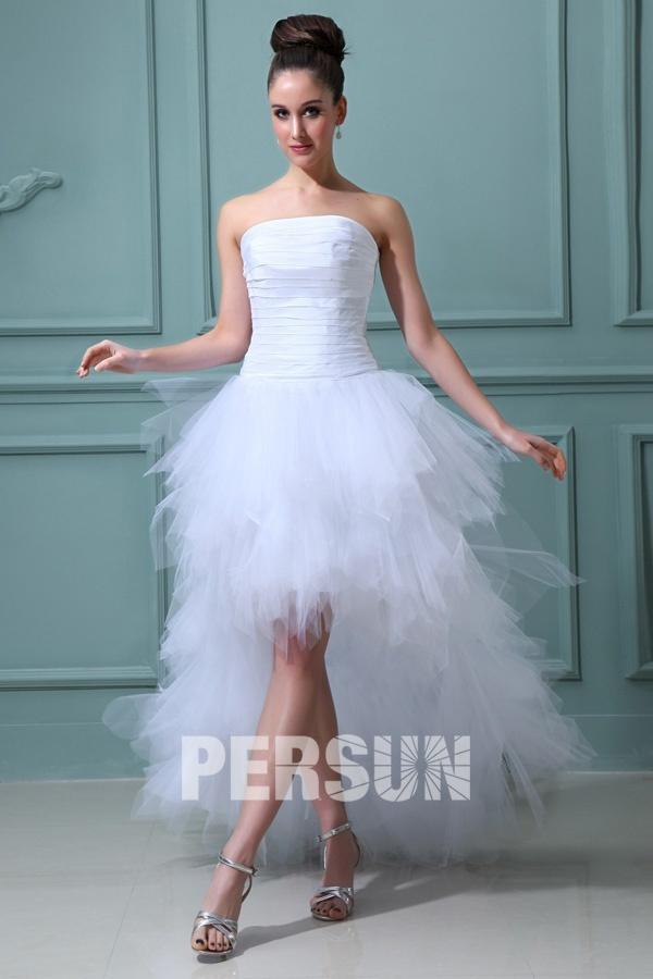 robe de mariée bustier ruchée courte devant longue derrière