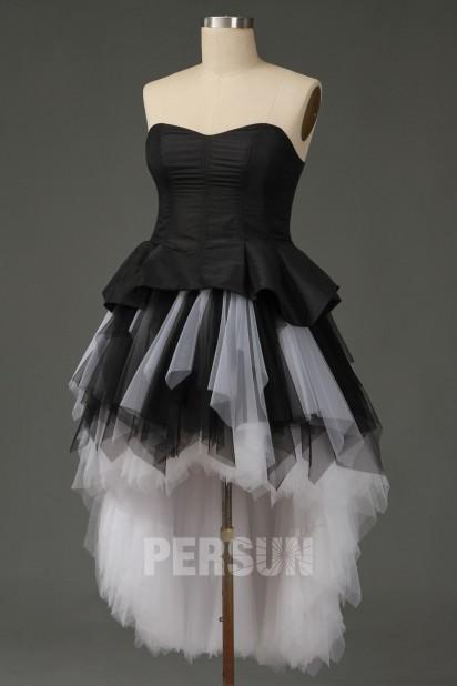 Sandrine : Robe de mariée rock noire & blanche court devant long derrière