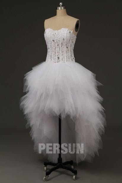 Violaine : Robe de mariée court devant longue derrière bustier transparent appliqué
