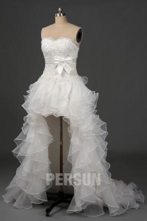 Wagner : Robe de mariée court devant long derrière à jupe volants en organza