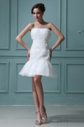 Mini robe bustier Empire blanche en organza