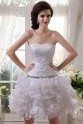 Cheap Beading Embroidery Short Organza Formal Dress