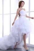 Herz Ausschnitt Perlen High Low Organza Brautkleid mit Schnürung