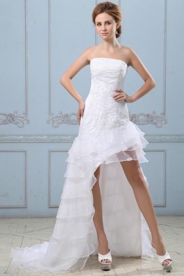 Robe de mariée plage en organza bustier à jupe asymétrique