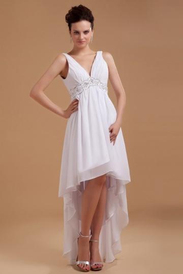 Robe de mariée plage col V à bord asymétrique