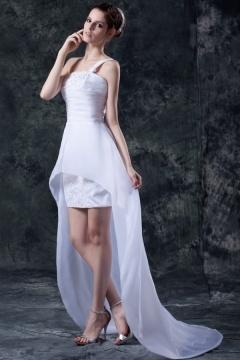 Robe de mariée moderne à une bretelle courte devant longue derrière