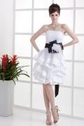 Organza Trägerloses Schnürung Band Schleife kurzes Brautkleid