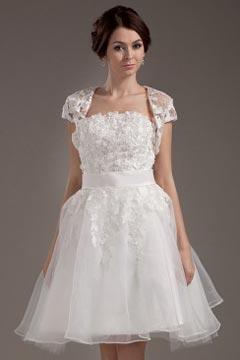 Robe de mariée bustier en organza courte Empire