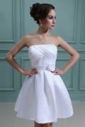 Satin Strapless Ruffle Formal Ball Gown