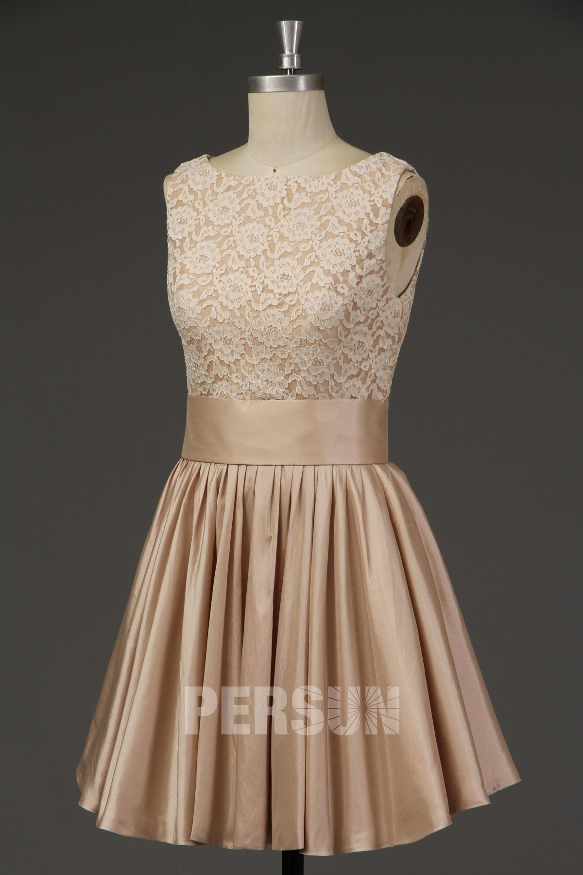 Robe de mariée courte haut dentelle & jupe taffetas champagne vintage
