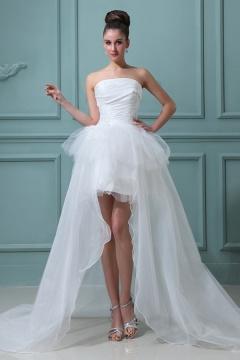 Robe de mariée bustier à jupe évasée et asymétrique