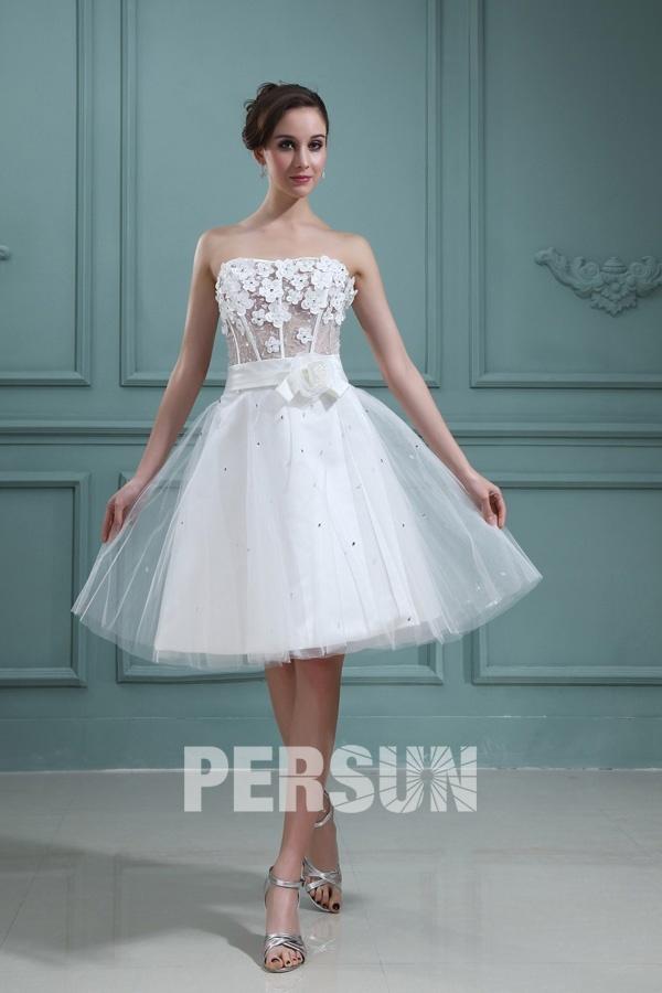 robe de mariée sexy courte bustier illusion embelli de fleurs 3D