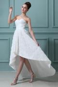 High Low Ärmelloses Großartiges Herz Ausschnitt Taft Brautkleid