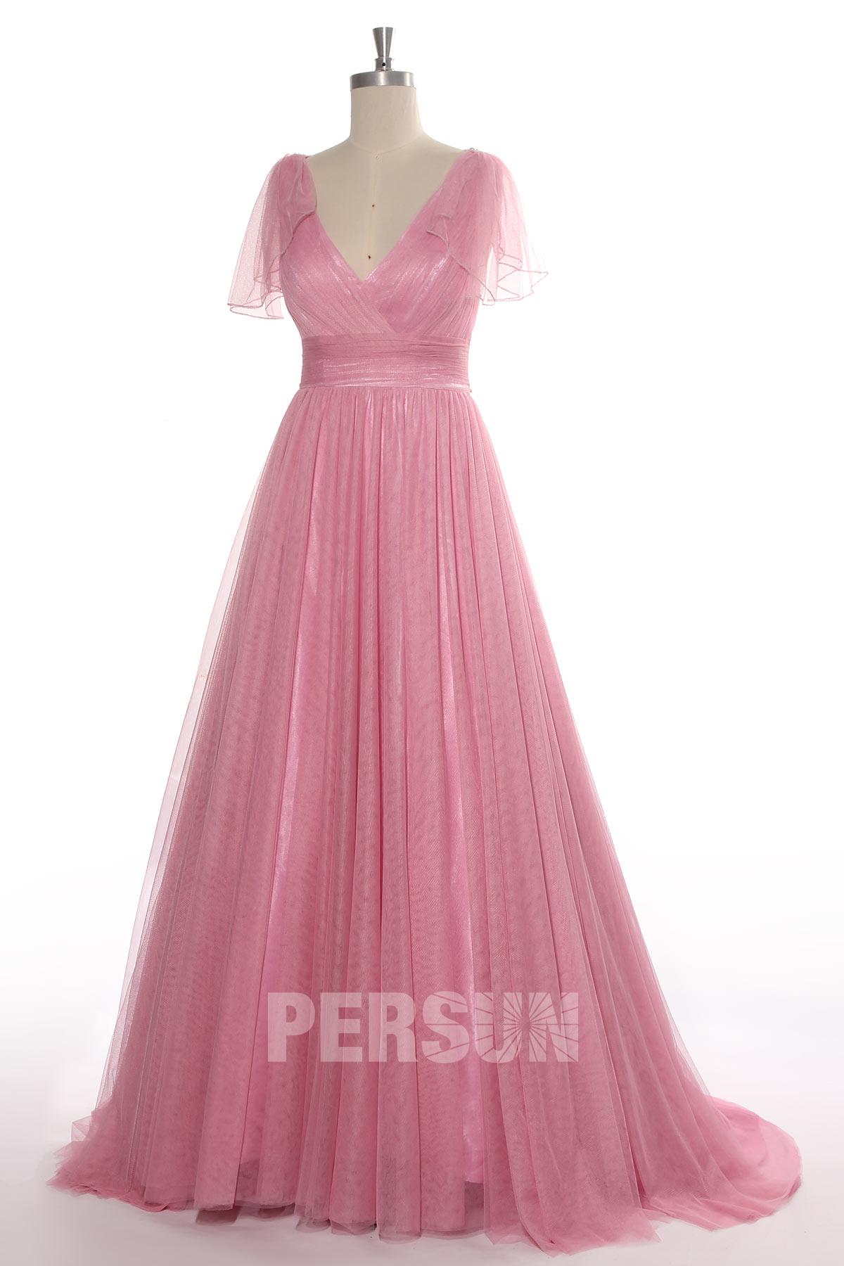 robe de mariée rose bohème à mancheron