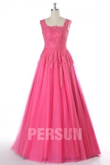 Robe de mariée princesse en tulle rose fuchsia bustier dentelle