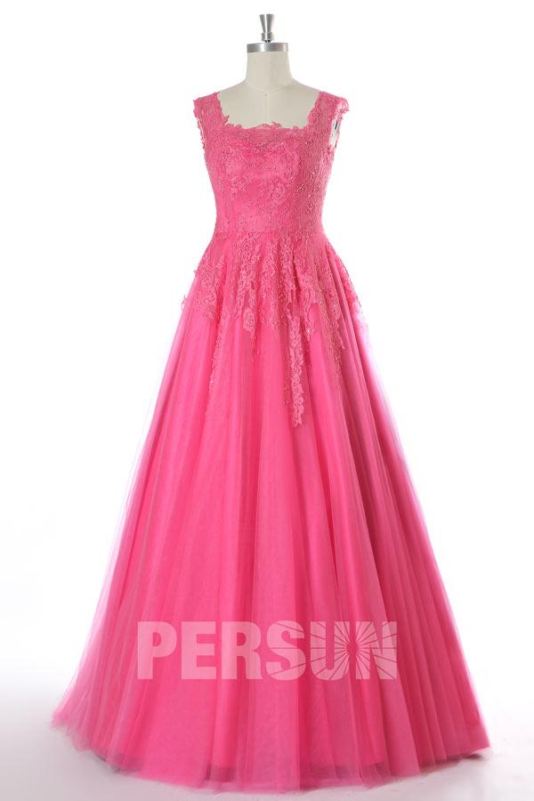 robe de mariée princesse rose bonbon empire haut en dentelle appliquée exquise