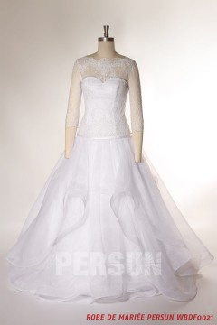 Robe de mariée princesse jupe vaporeuse avec manches 3 / 4