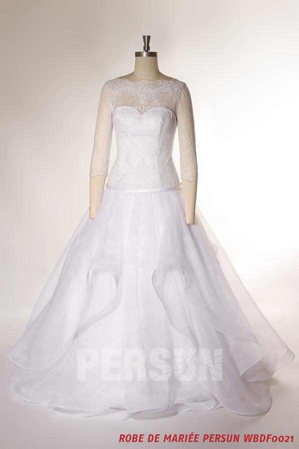 Robe De Mariee Princesse Jupe Vaporeuse Avec Manches 3 4