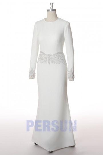 Robe soirée blanche pour mariée près du corps à manche longue