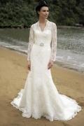 Schönes Ivory Meerjungfrau V-Ausschnitt Brautkleider mit Ärmeln