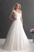 2016 Chic A-Linie Ivory Ein Schulter Brautkleider mit Ärmeln