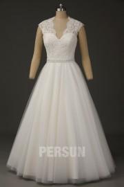 2016 Luxus V-Ausschnitt A-Linie Ärmelloses Brautkleider aus Tüll
