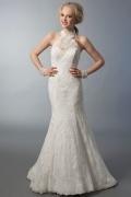 Sexy Ivory Stehkragen Meerjungfrau Brautkleider aus Spitze