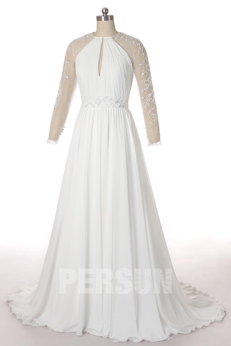 robe de mariée simple encolure goutte eau avec manche longue transparente appliquée de dentelle florale