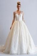 2016 Luxus Ivory Prinzessin Stil V-Ausschnitt Brautkleider aus Spitze mit Ärmeln